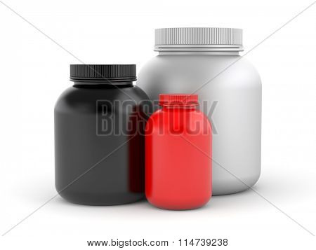Cans of protein or gainer powder - bodybuilding supplements