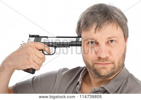 Man tries to shoot himself isolated on white background