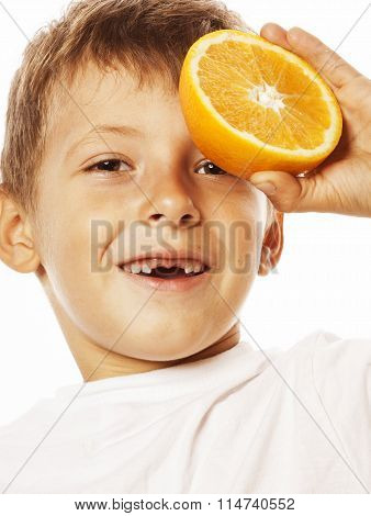 little cute boy with orange fruit double isolated on white smiling without front teeth adorable kid