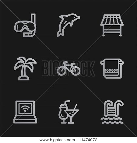 Vacation Web Icons, Grey Mobile Style