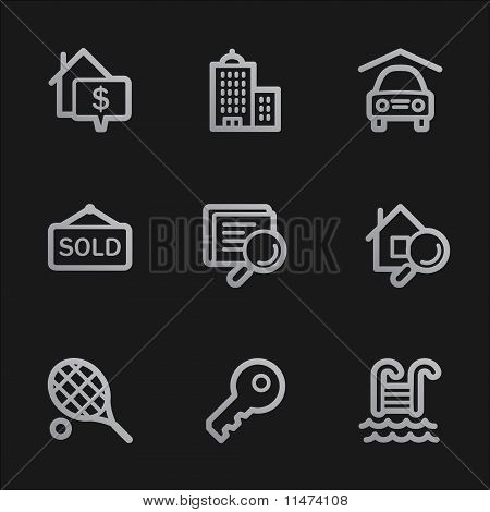 Real Estate Web Icons, Grey Mobile Style