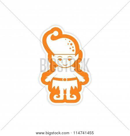 paper sticker on white background Santa's elves