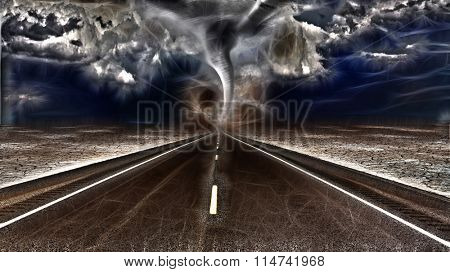Road leads into desert with raging storm