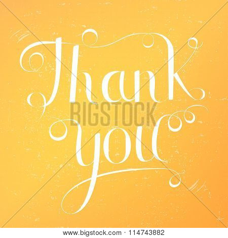 Thank you lettering on yellow background