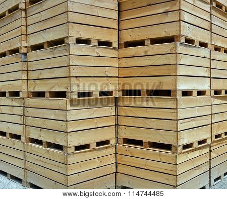 Wooden Apple Boxes Background Vertical