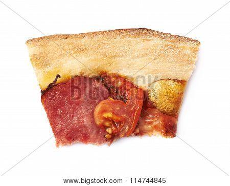 Bitten piece of pepperoni pizza