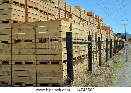Huge Stack Of Wooden Apple Boxes Awaiting Harvest Time