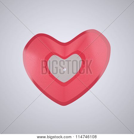 Heart shaped Vinyl record (Popular Music Concept)