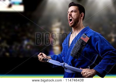 American judoka fighter in the stadium