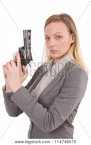 Pretty office employee with handgun isolated on white
