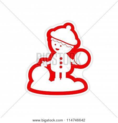 paper sticker on white background boy playing snowballs