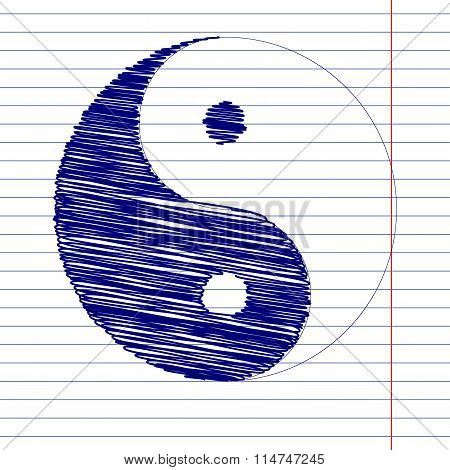 Ying yang sign illustration