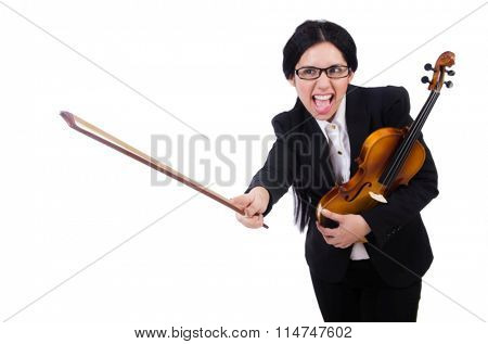 Woman with violin isolated on the white