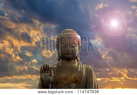 Big Bronze Buddha With Clouds Background