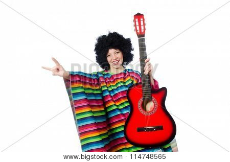 Pretty girl in mexican poncho with guitar isolated on white