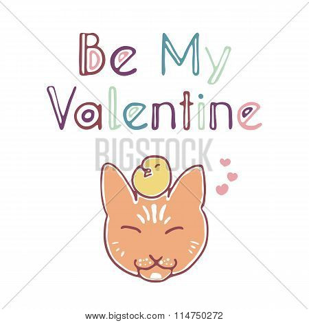 Be my valentine card with hand lettering