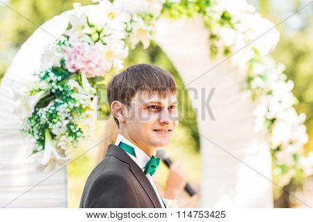 Groom waiting bride. Just married.
