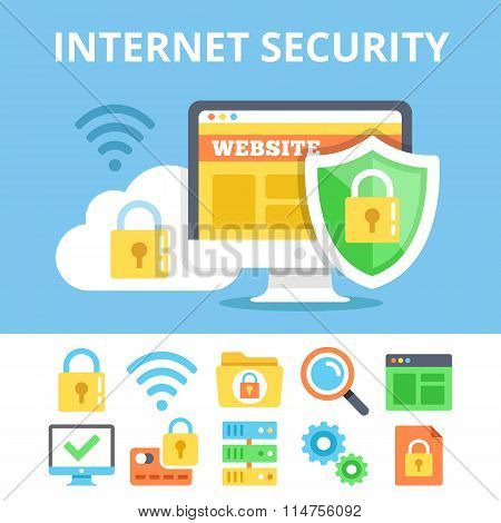 Internet security flat icons set and flat illustration. Modern vector illustration