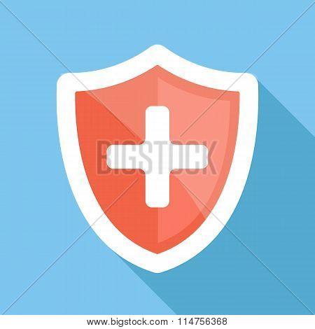 Medical shield long shadow vector flat icon