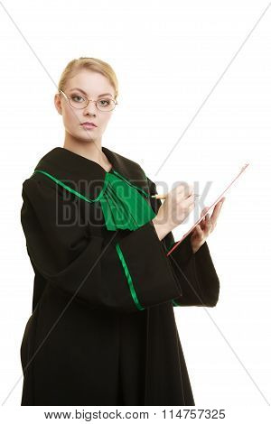 Woman Lawyer Holding Clipboard Writing