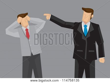 Employee Gets Scolded By Boss Vector Illustration