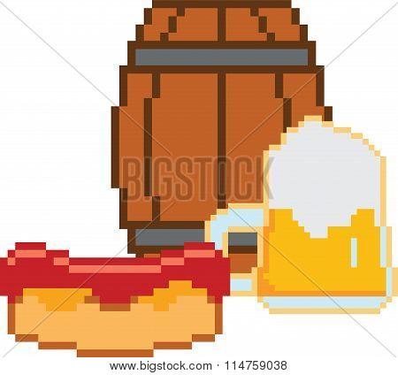 Beer. Pixel-art or 8-bit style
