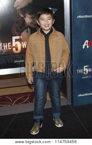 vLOS ANGELES - JAN 14:  Albert Tsai at the The 5th Wave Los Angeles Premiere at the Pacific Theatres At The Grove on January 14, 2016 in Los Angeles, CA