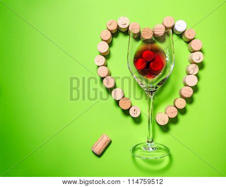 Glass Of Wine With Cork Stoppers