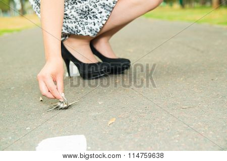 Classy woman wearing fashionable skirt and elegant black high heels bending down to pick up keys fro