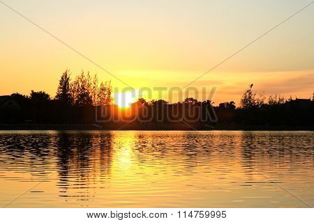 The Park Of Big Provinces Is Famous At Sunset,udonthani ,thailand.