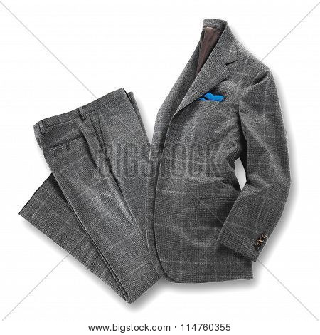 Elegant Grey Worsted Suit