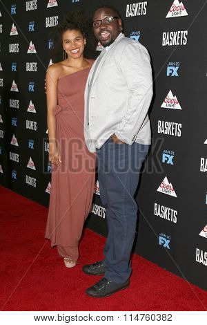 vLOS ANGELES - JAN 14:  Zazie Beetz, Brian Tyree Henry at the Baskets Red Carpet Event at the Pacific Design Center on January 14, 2016 in West Hollywood, CA