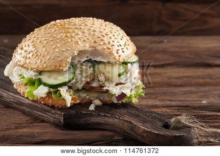 Closeup Bitten Veggie Burger