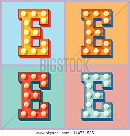 Vector  light up colorful flat lamp alphabet. Letter E