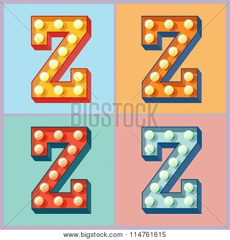 Vector  light up colorful flat lamp alphabet. Letter Z