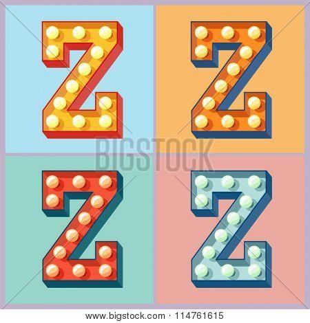 Vector  light up colorful flat lamp alphabet. Letter Z