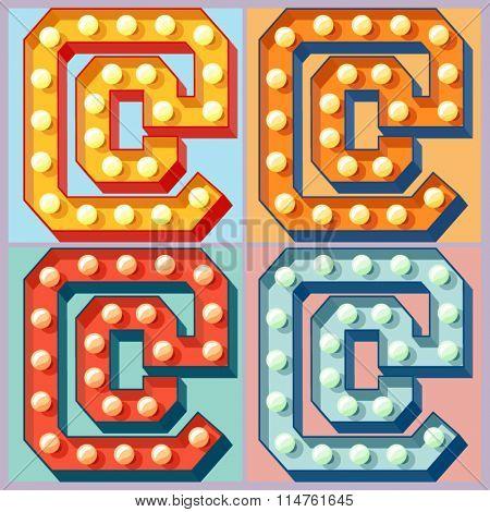 Vector  light up colorful flat lamp alphabet. Symbol 5