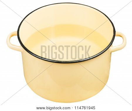 Classic Yellow Enamel Saucepot With Water Isolated
