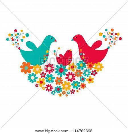 Two birds with chicks in the nest of flowers