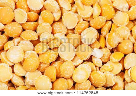Raw Yellow Split Peas Close Up