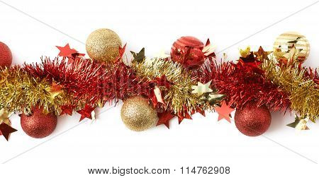 Line of a tinsel garland isolated