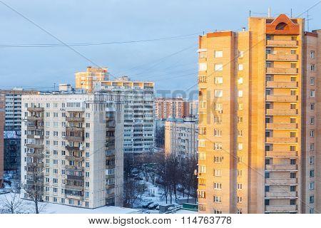 Sunrise In Living Quarter In Winter Morning
