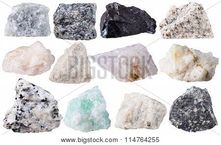 Set From 12 Specimens Of Mineral Stones Isolated