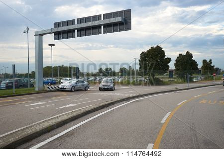 VERONA, ITALY - SEPTEMBER 12, 2014: road from the airport to Verona. Verona is a city straddling the Adige river in Veneto, northern Italy