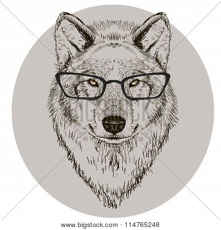 hipster portrait of wolf with glasses