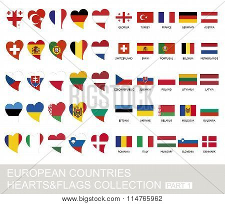 European Countries Set, Hearts And Flags, Part 1
