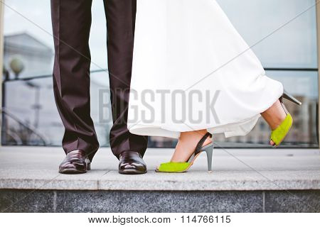 Bride In Dress ,the Green Shoes