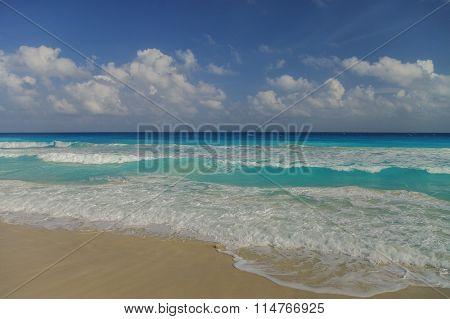 Waves On The Coast Of The Caribbean Sea, Mexico. Riviera Maya