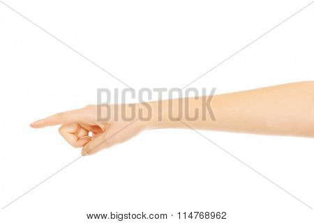 Woman finger pointing for something