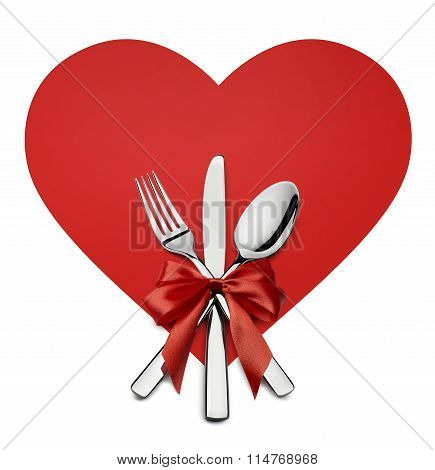 Valentine Silverware On Red Heart Shape Design Element Isolated